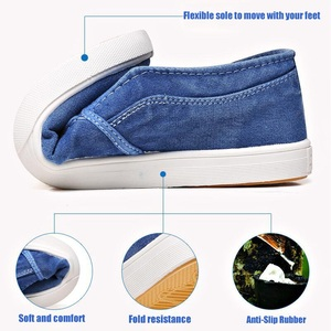 Image 4 - Summer Canvas Shoes Men Sneakers Casual Flats Slip On Loafers Moccasins Male Shoes Adult Denim Breathable Gray Zapatos Hombre