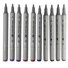 10 Color Body Art Tattoo Supply Pen Dual Tip Double End Tattoo Skin Marker Marking Pen Flat/Thick Tip Tattoo Inks Pen Hot