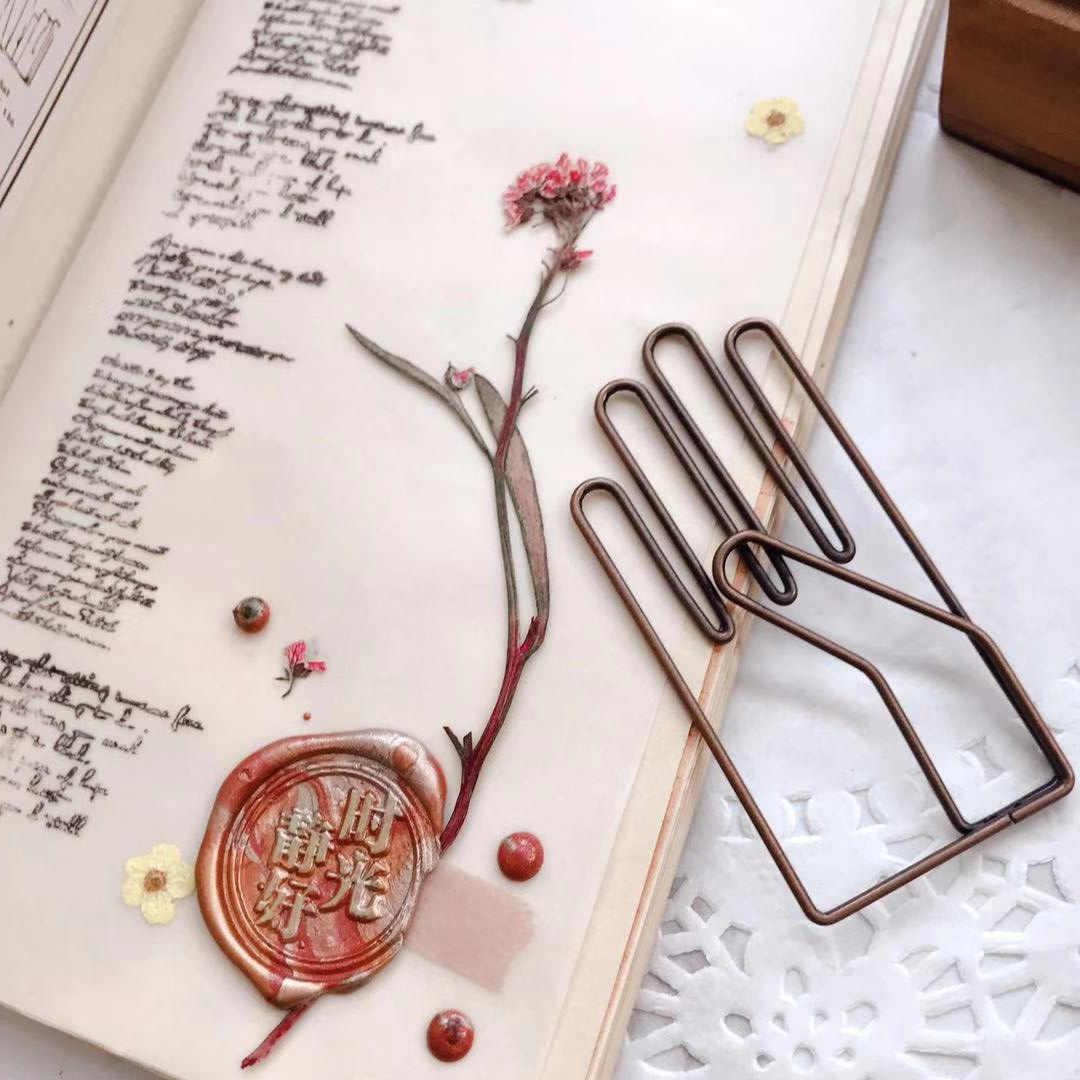 Retro Hand Vorm De Papel Notes Diy Bookmark Metalen Bindmiddel Clips Vis Clips Notities Brief Paperclips