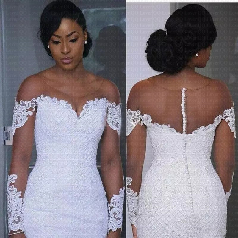 2019 New African Long Sleeve Lace Wedding Dresses Applique Plus