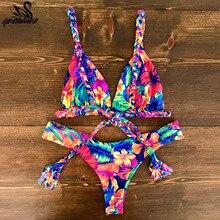 2018 сексуальные купальники бикини Для женщин Push Up купальный костюм бикини набор бразильский лето для пляжа для купания костюмы Женское бикини принт
