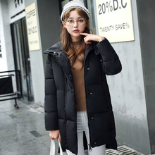 Новое прибытие женщин зимние пуховики 3 цвета хлопка с капюшоном длинный отрезок повседневная куртка slim корейской теплой зимней моды пальто