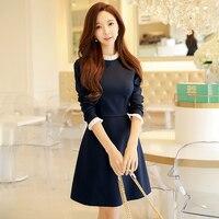 Dabuwawa Dark Blue Knitting A Line Dress Vintage Long Sleeve Spring Knitted Dress Female Pullover Autumn Dress