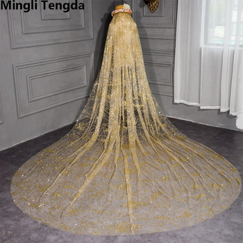 Mingli Tengda Champagne Veil Soft Yarn Bridal Veils Silk  Tiara 3.5 M Long Travel Veil Bling Bling Spray Gold Weddig Veil