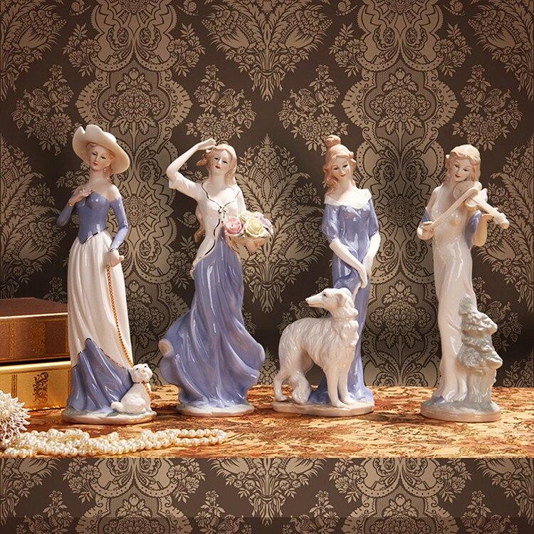 Fait à la main en céramique fine élégante western femelle personnages miniatures ornements exquis moderne décorations pour la maison