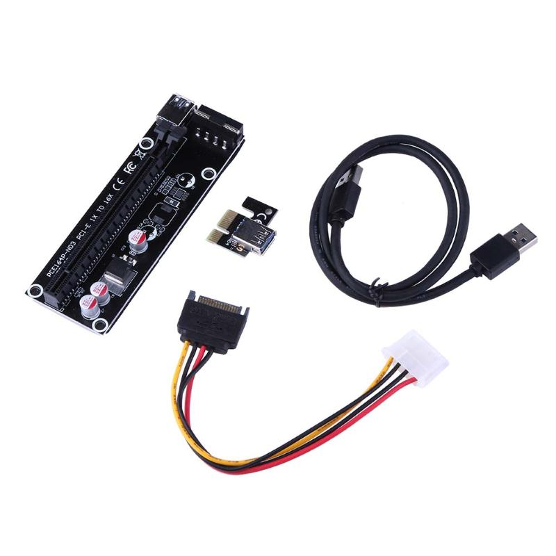 PCI-E PCIe 1X to 16X PCI Express Riser Card Board Extender Adapter+ 4 Pin IDE Power Supply + USB 3.0 Cable for BTC Miner Machine 4 slots pci e 1 to 4 pci express 16x slot external riser card adapter board pcie multiplier card for btc miner