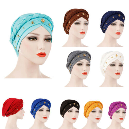 Milk Silk Hair Loss Head Wrap Muslim Cancer Chemo Hat Women Turban Cap Braid