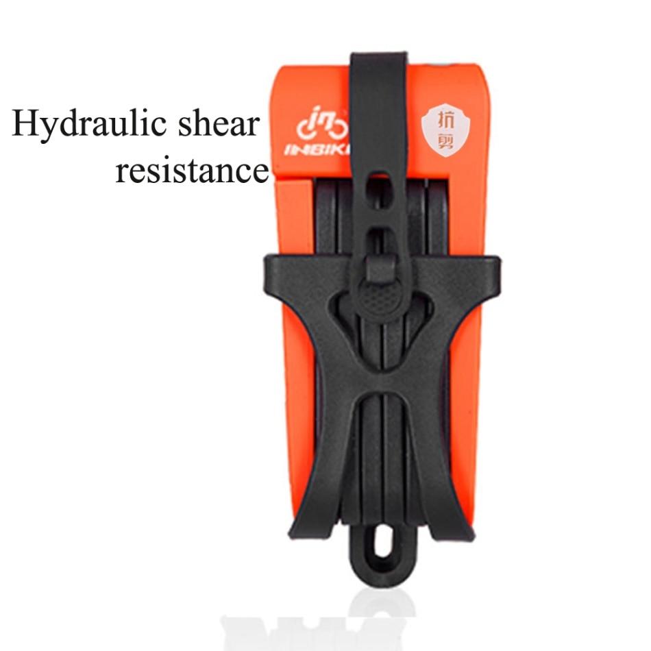 Противоугонный велосипедный замок складной велосипед из нержавеющей стали замок цепи с 3 запасными клавишами - Цвет: Orange 1