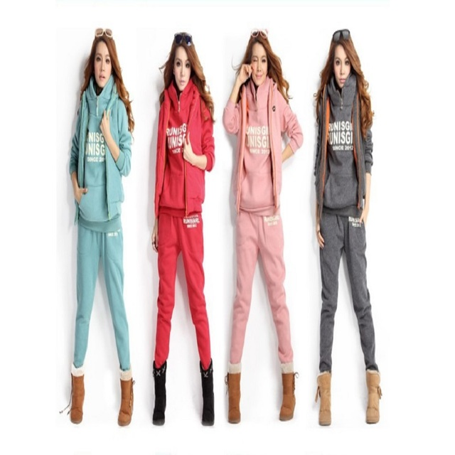 Autumn and winter New Fashion women suit warm women's tracksuits casual set with a hood fleece sweatshirt three pieces set