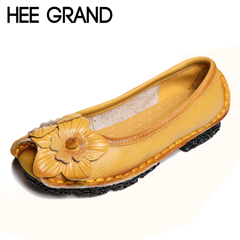 HEE GRAND Genuine Leather Loafers Flowers Creepers Platform Shoes Woman Slip On Flats Soft Moccasin Casual Women Shoes XWD4111 hee grand summer gladiator sandals 2017 new platform flip flops flowers flats casual slip on shoes flat woman size 35 41 xwz3651