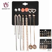 US $2.3 40% OFF|DANZE 6 Pairs/Lot Resin Flower Rhinestone Heart Tassel Minimalist Earring Sets For Women Gold Ear Studs Aretes Lote Oorbellen-in Stud Earrings from Jewelry & Accessories on Aliexpress.com | Alibaba Group
