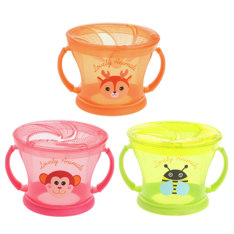 Baby Snack Bowl Food Container Feeding Children Assist Food Soft PP Bowl Children Snack Cup Leak Proof 360 Rotate Spill-Proof