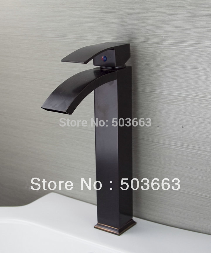OUBONI Deck Mounted 1 Handle Oil Rubbed Bronze Bathroom Basin Sink Waterfall Faucet Mixer Taps Vanity Brass Faucet L-9027 newly solid brass oil rubbed bronze 3pcs bathroom sink basin faucet mixer tap dual ceramics handle three holes deck mounted