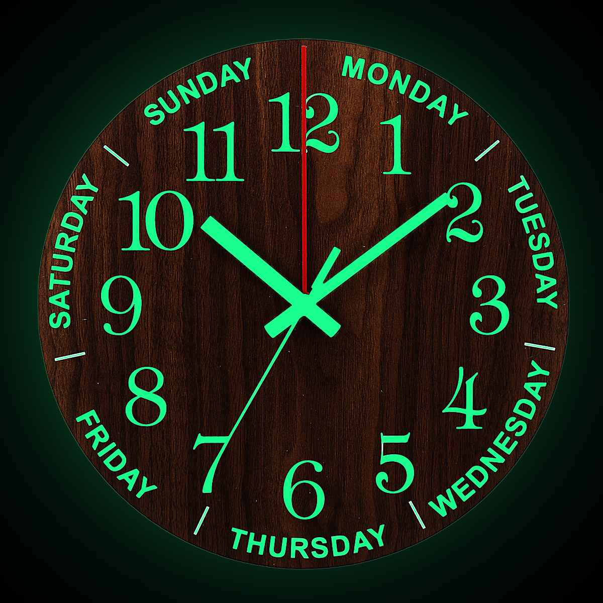 Wall-Clock Wooden Living-Room Kitchen Luminous Silent 12inch Night-Lights Non-Ticking title=