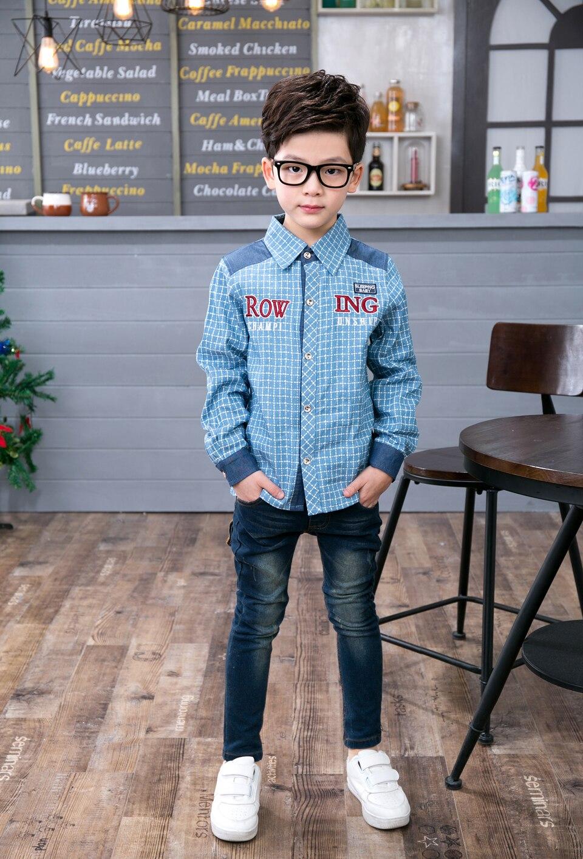 2017 Fashion Domeiland Children Boys Clothing Long Sleeve Plaid Boy