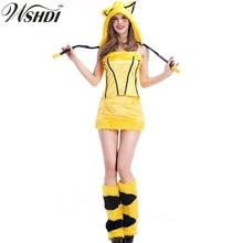 Adultos traje de pikachu pokemon pikachu anime lindo para la muchacha  mujeres sexy cosplay dress 1192bd75f215