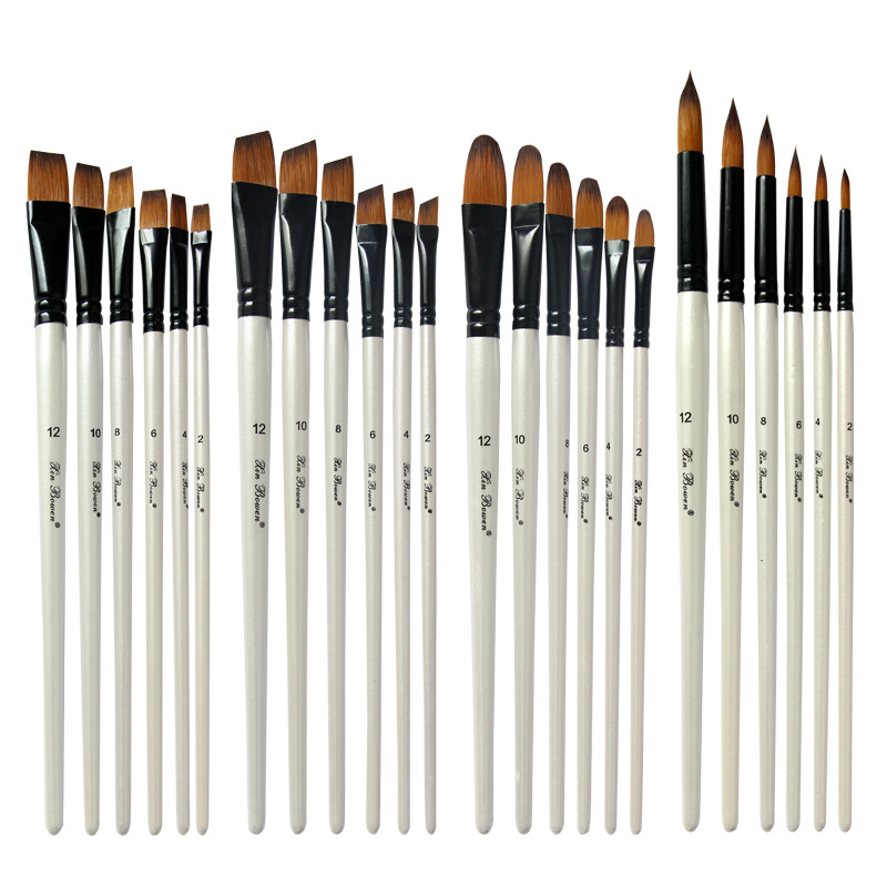6pcs/set Nylon Hair Oil Paint Brush Pen Set Wooden Handle Watercolor Acrylic Painting Art Brushes For Artists Painters Beginners