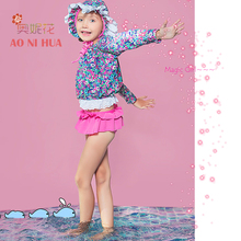 AONIHUA 2-12 years 4pcs Big Bowknot Lace Swimsuit Girls 2017 Print Floral bikibi set Children baby Long sleeve swimwear Designer