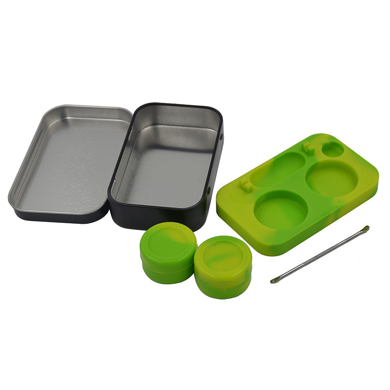 2set Tin Containers 2 in 1 Bho Silicone station+Dab