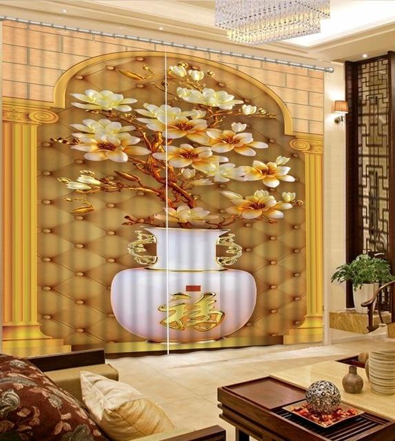 US $61.65 55% di SCONTO|Nuovo Complementi Arredo Casa 3D Tenda Della  Finestra Per soggiorno di Disegno del fiore vaso Tende Della Cucina Ganci  Tende ...
