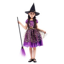 Child Kids Girls Purple Gold Witch Sorceress Costume Dress Hat Halloween Purim Carnival Masquerade Party Costumes Cosplay цена