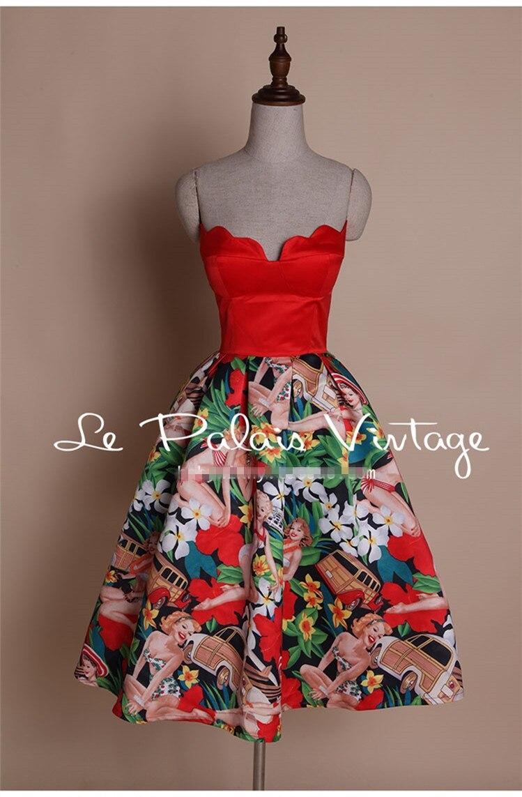 Bretelles Imprimé Motif De Club Party Hepburn Chic Fleur Rencontres Patchwork Dîner Vintage Manches Robe Rouge Sans Style Setin Balle Fv0SH