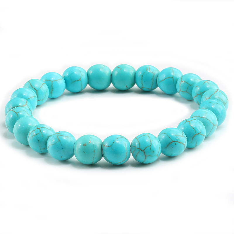 High Quality Blue White Green Red Natural Turquoises Stone Bracelet Homme Femme Charms 8MM Men Strand Beads Yoga Bracelets Women