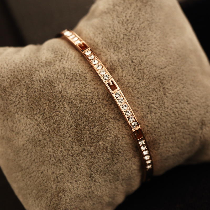S.vex Rose Gold Color Circles Bracelet & Bangles for Woman Top Quality Rhinestones Female Bracelets