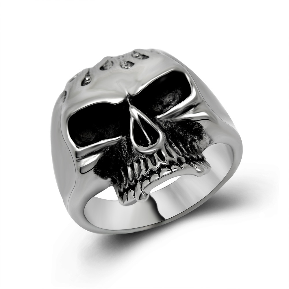 Biker rings silver with black color water droplets skull for Biker jewelry stainless steel