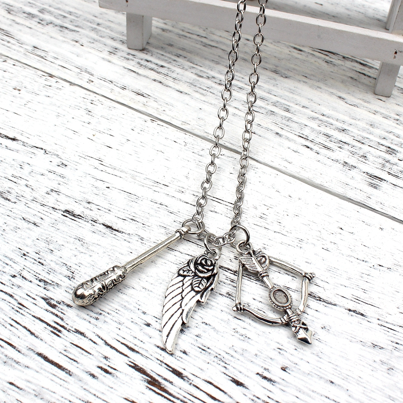 New Fashion Necklace Walking Dead Stick And Bow And Arrow Wings Necklace Pendant Fashion Jewelry Collar Necklace in Pendants from Jewelry Accessories