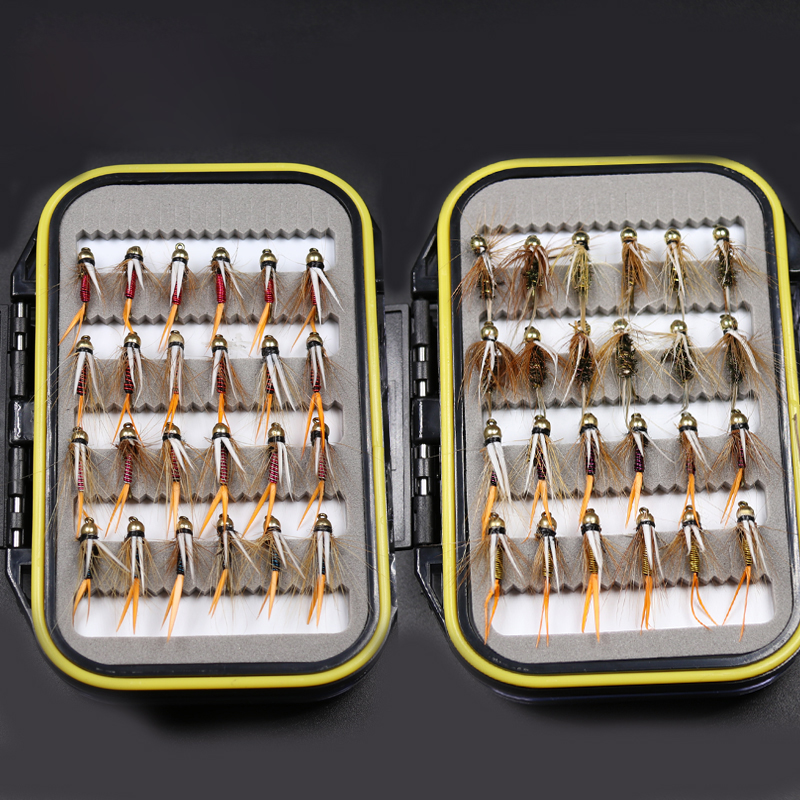 48PCS 10# Fishing Fly Combo Brass Golden Beadhead Trout Grayling Fishing Flies Wet Fly Bead Head Prince Nymph 10pcs beadhead pm caddis 14 nymphs dry fly fishing trout flies page 5