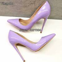 Sexy High Heels Pointed toe Pumps purple Office Shoes Women Party Wedding Shoes Fashion Patent Leather Stiletto High Heel Pumps