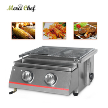 2 Burners Stainless Steel BBQ Grills LPG Gas Griddles Smokeless Steel/Glass Shield For Outdoor Camping Picnic