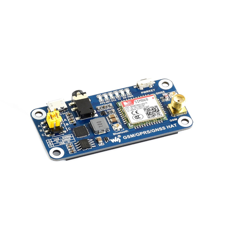 GSM/GPRS/GNSS/Bluetooth 3.0 HAT For 2B/3B/3B+/Zero/Zero W, Support SMS, Phone,email, Onboard USB To UART Converter
