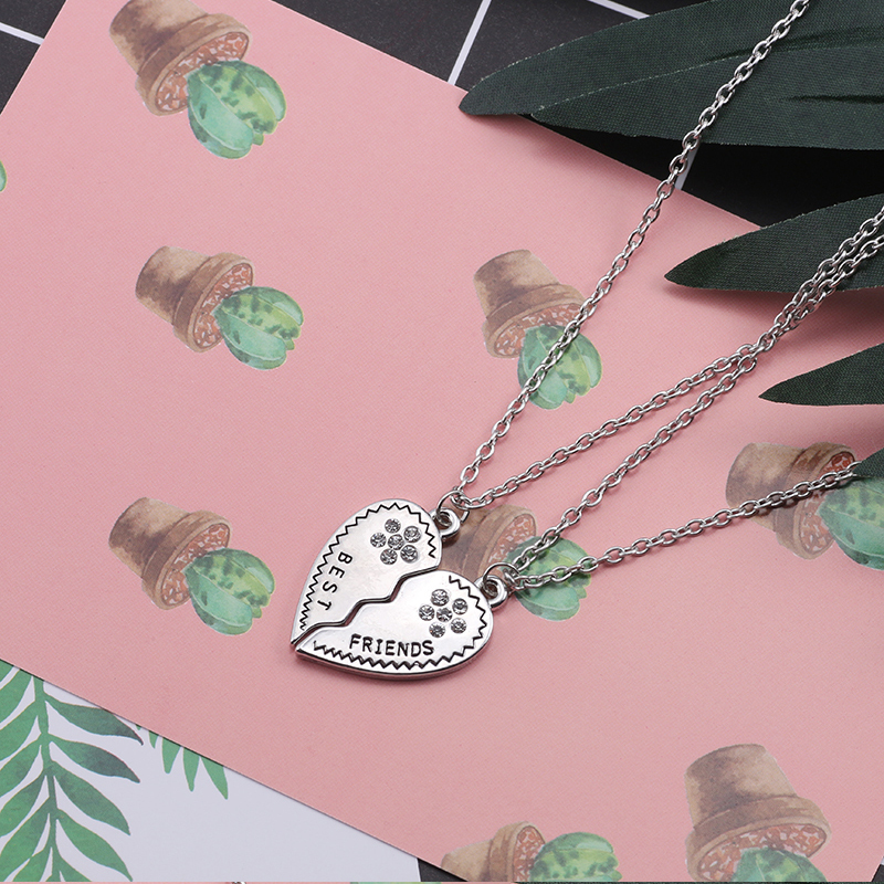 Best Friend Necklace Women Crystal Heart Tai Chi Crown Best Friends Forever Necklaces Pendants Friendship BFF Jewelry Collier 10