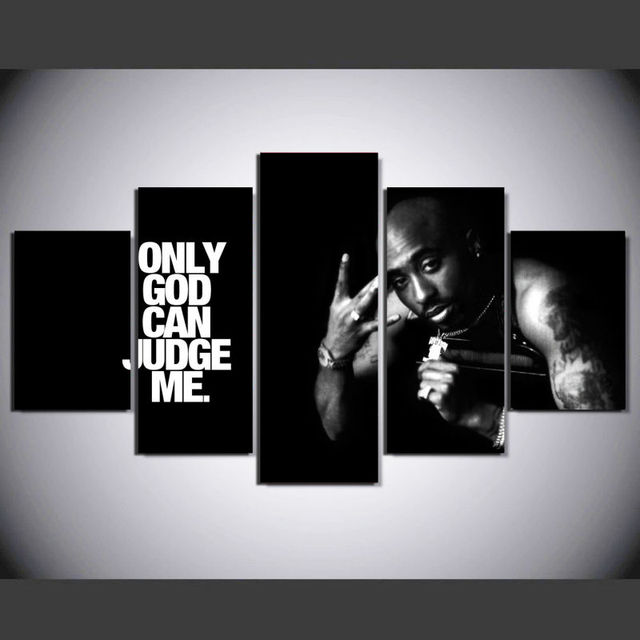f65ddfd4f10 HD Print 5 Pieces 2Pac Makaveli Tupac Amaru Shakur Modern Home Wall Decor  Canvas Picture For Living Room Art Painting On Canvas