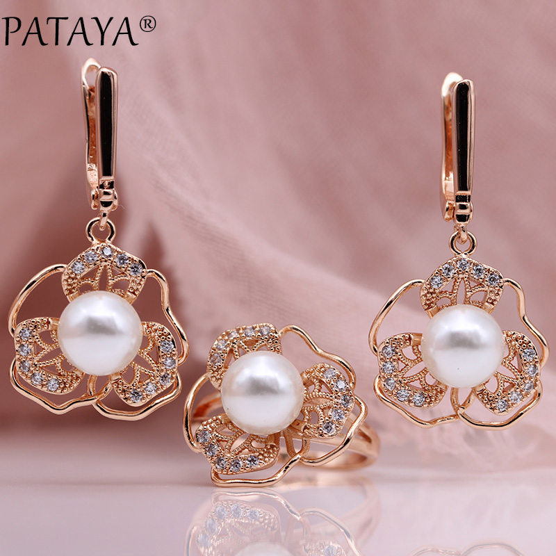 PATAYA New White Shell Pearls Earrings Rings Sets 585 Rose Gold Women Fashion Jewelry Set Natural Zircon Hollow Irregular NoblePATAYA New White Shell Pearls Earrings Rings Sets 585 Rose Gold Women Fashion Jewelry Set Natural Zircon Hollow Irregular Noble