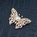 Bonito e Encantador Da Borboleta Real Natural Pérola Prooches para As Mulheres Jóia da Forma Da Senhora
