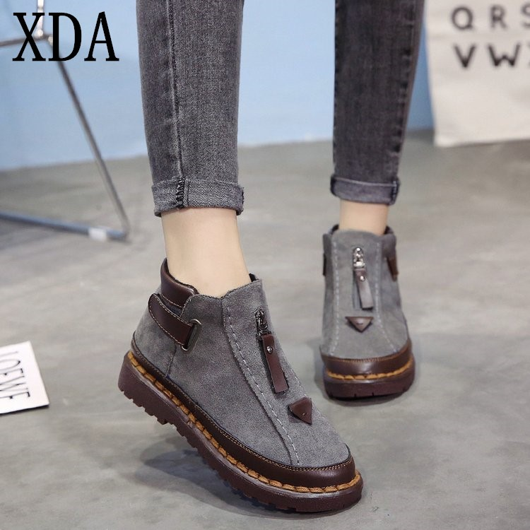 XDA 2019 Fashion Warm Fur Women Snow Boots Flat Winter
