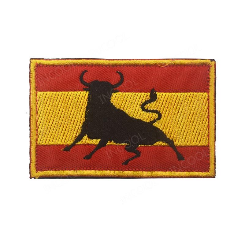 2caa555f996 Patch de broderie drapeau espagnol taureau armée militaire patchs de moral  emblème tactique Applique drapeau espagne