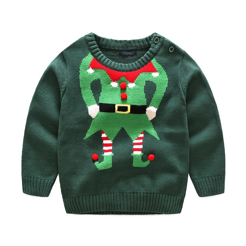 Maggie's Walker free shipping Children's clothing baby boys cartoon sweaters kids round neck of green Christmas casual sweater army green v neck knot sweater