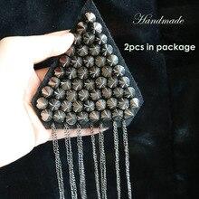 2pcs/set tassel Beaded epaulette for clothes Punk Coat Suit DIY Fashion Tassel Badge Epaulets Shoulder Patches appliques