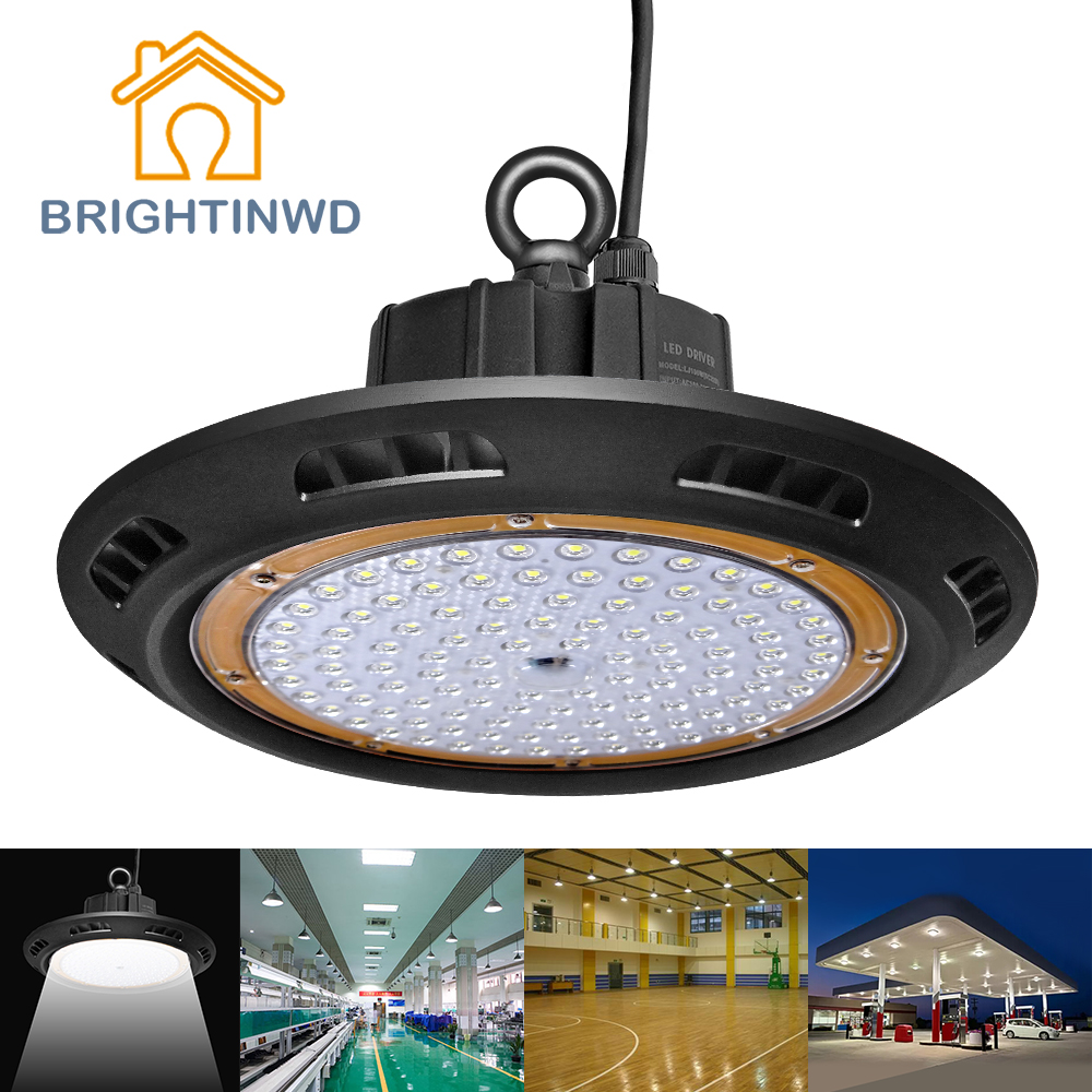 BRIGHTINWD IP65 100-265V LED UFO High Bay Light 100W 150W 200W LED Ceiling Mining Lampu LED Industri Spotlighting