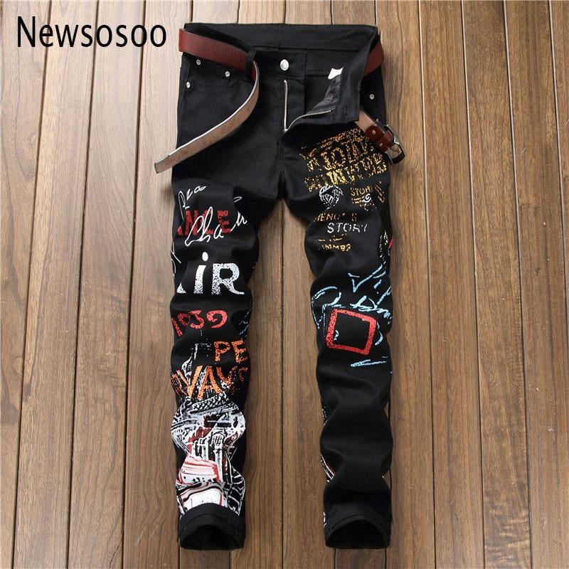 European American Style fashion mens   jeans   Men straight slim denim trousers print zipper Slim black Pencil Pants   jeans   for men