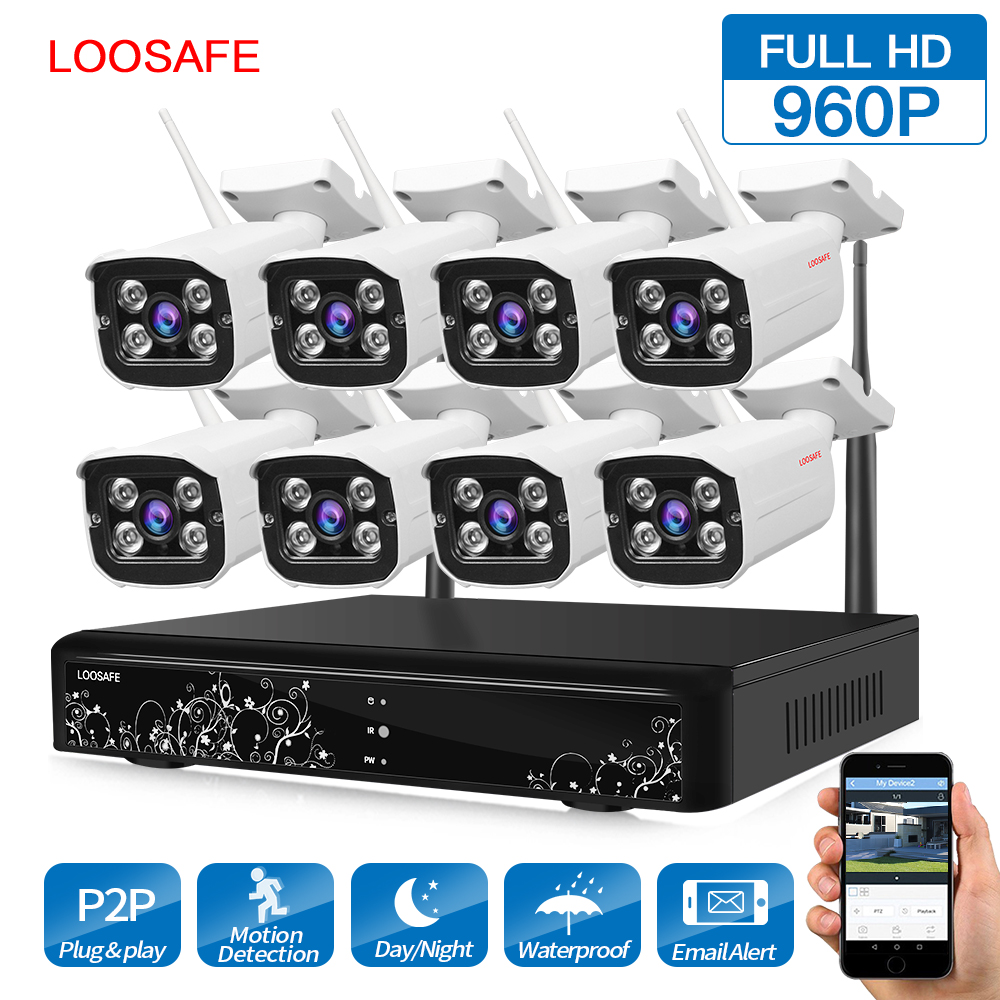 LOOSAFE HD 960P Outdoor Surveillance Camera System 8CH NVR Kit CCTV Home Security Camera System Wireless WIFI IP Camera System cctv system 960p 8ch hd wireless nvr kit outdoor ir night vision ip camera wifi camera kit home security system surveillance