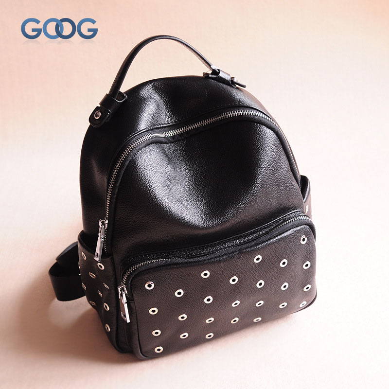 New front cowhide zipper pocket bag shoulder bag fashion leisure travel oval leather rivets female tide solid color backpack бра divinare bilancia 1154 01 ap 1