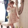 2014 Primavera Otoño Coreano Vestido Floral de Las Mujeres Gasa Del Cordón Del Vestido Ocasional Lindo