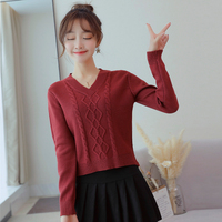 Knit Sweater V neck Female Long Sleeve Autumn Pulover Femininos De Inverno Knitwear