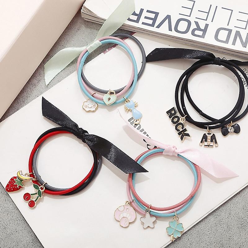 M MISM 3PCS Letter Fruit Elastic Hair Bands Cute Hair Accessories Ties Rubber Band Gum Scrunchy for Women Girls