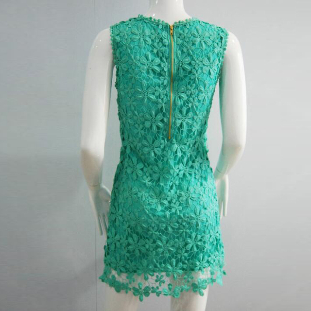SESOAF 2017 Women's Spring Summer Lace Dresses O ncek Sleeveless Knee-Length vestidos de renda Bodycon Hip Sexy Pencil Dress
